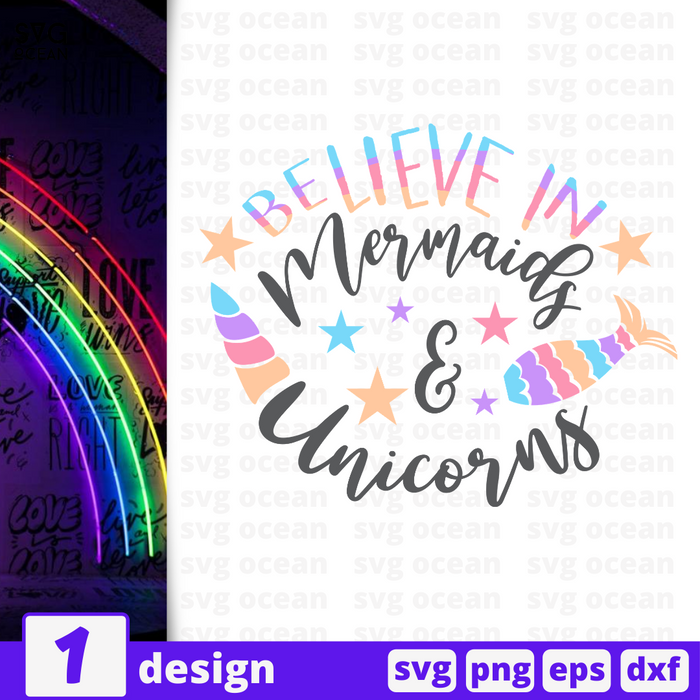 Believe in mermaids & Unicorns SVG vector bundle - Svg Ocean