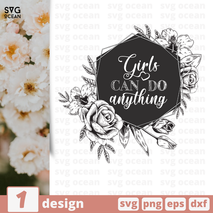 Free Girls quote SVG printable cut file Girls can do anything - Svg Ocean