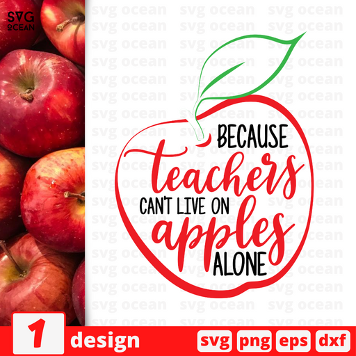 Because teachers can't live on apples  alone SVG vector bundle - Svg Ocean