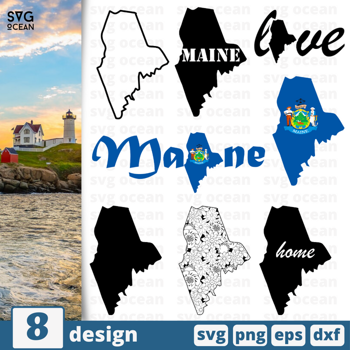 Maine SVG vector bundle - Svg Ocean