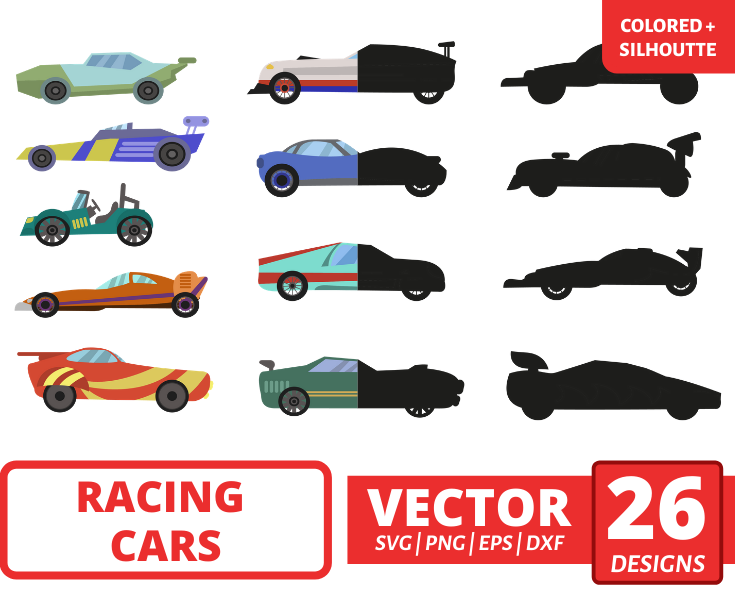 Racing cars SVG vector bundle (svg, dxf, png, eps). Colored + Silhouette + Outline.