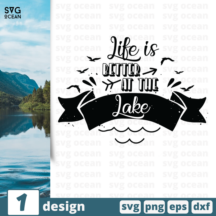 Free Lake quote SVG printable cut file Life is better at the lake - Svg Ocean