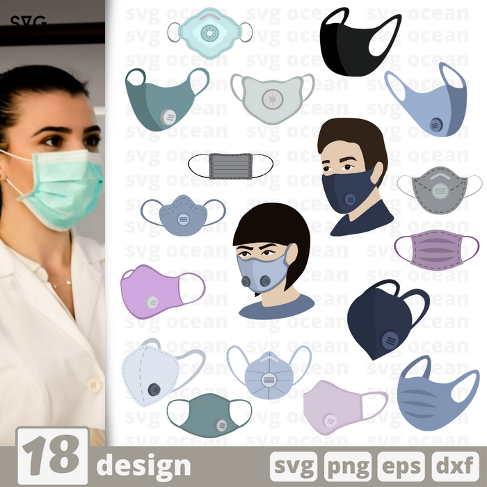 Face mask SVG bundle - Svg Ocean