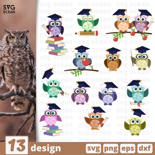Graduation owl SVG vector bundle - Svg Ocean