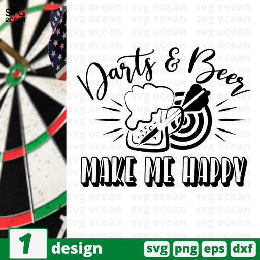 Darts & Beer Make me happy SVG vector bundle - Svg Ocean