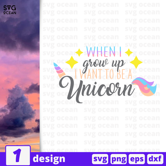 When I grow up I want to be a Unicorn SVG vector bundle - Svg Ocean