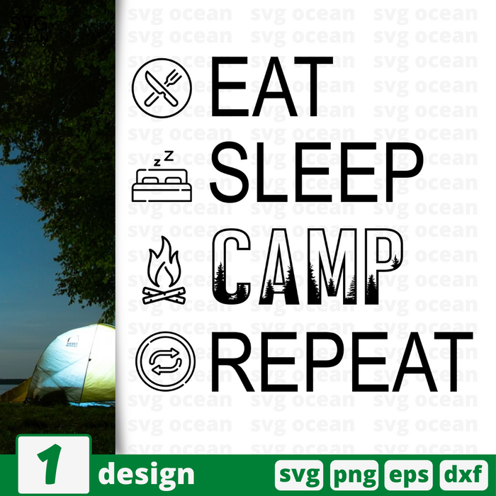 Eat sleep camp repeat SVG vector bundle - Svg Ocean