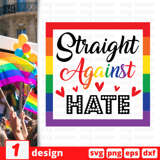 Straight against hate SVG vector bundle - Svg Ocean