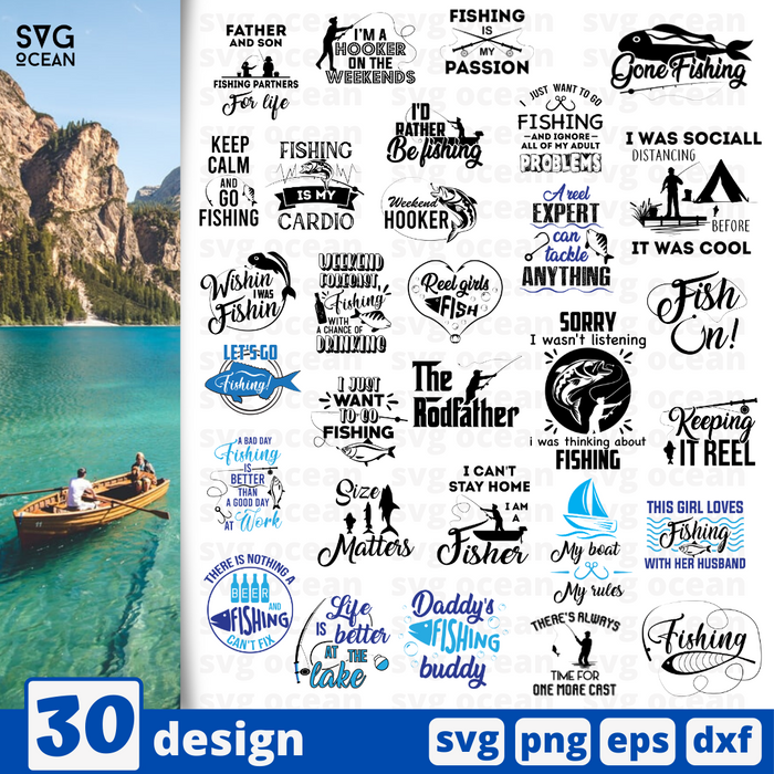 Fishing quotes SVG vector bundle - Svg Ocean