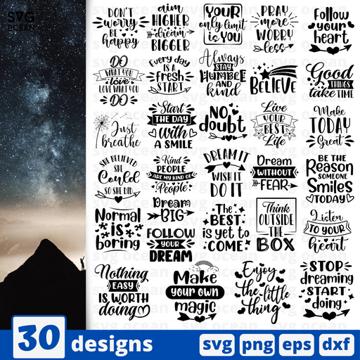 Inspiration quotes  SVG vector bundle - Svg Ocean