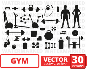 Gym SVG vector bundle (svg, dxf, png, eps). Colored + Silhouette + Outline.