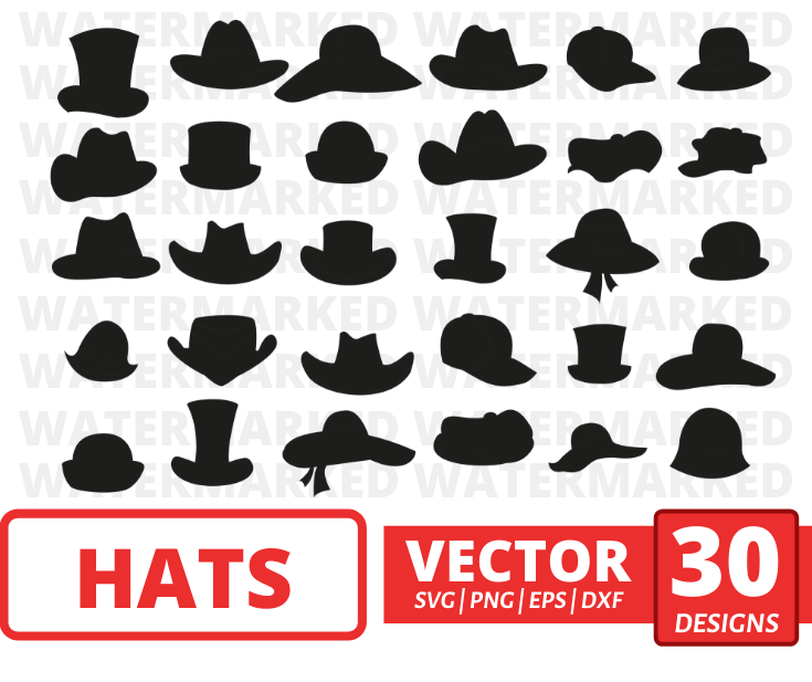 Hats SVG vector bundle (svg, dxf, png, eps). Colored + Silhouette
