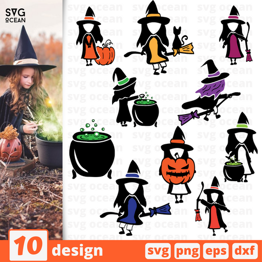 Halloween cute witches SVG bundle - Svg Ocean