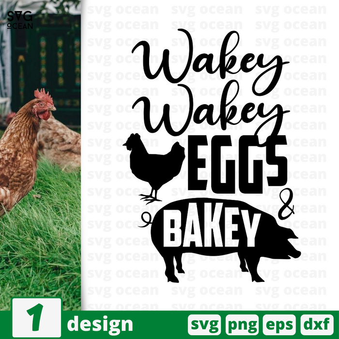 Wakey wakey Eggs & Bakey SVG vector bundle - Svg Ocean