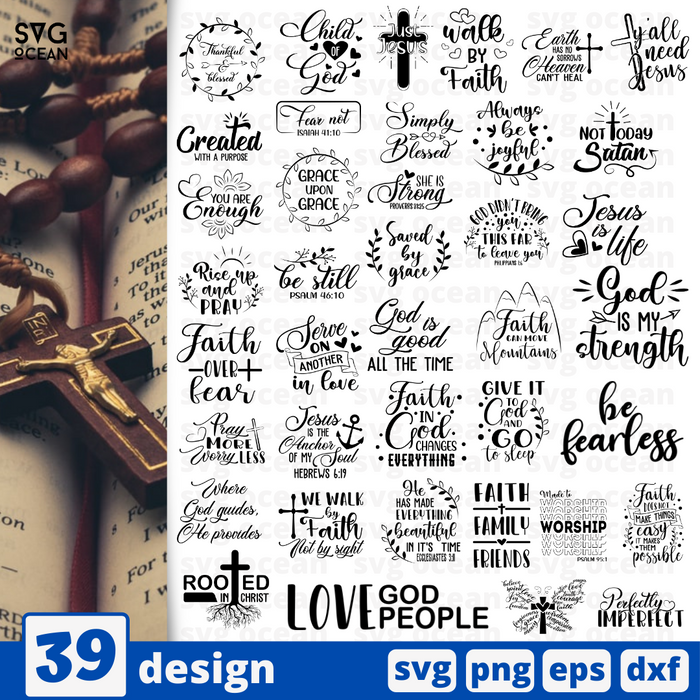 Christian bible quote  SVG vector bundle - Svg Ocean