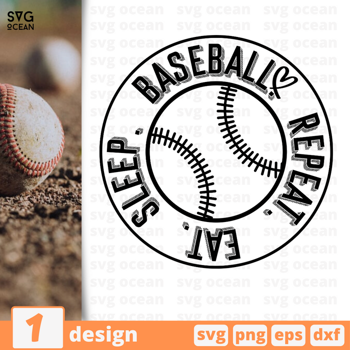 Eat sleep baseball repeat SVG vector bundle - Svg Ocean