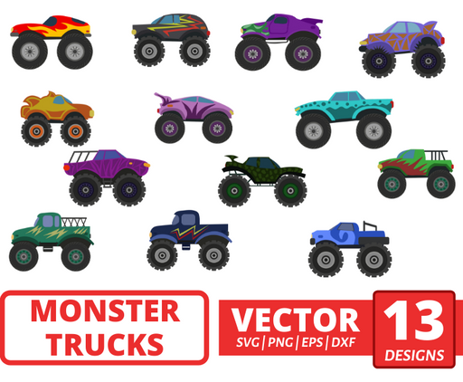 Monster trucks SVG vector bundle - Svg Ocean