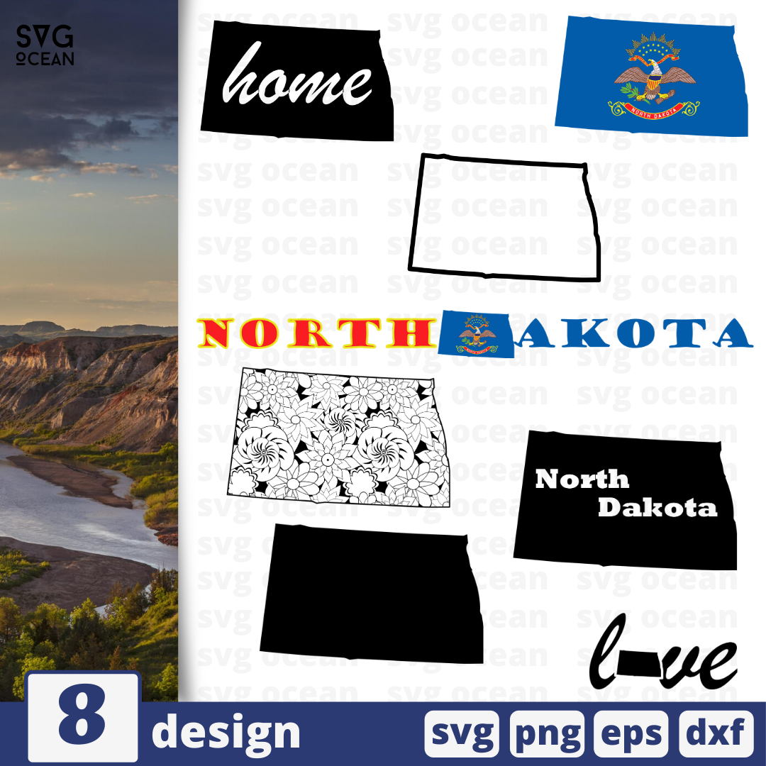 North Dakota SVG vector bundle - Svg Ocean