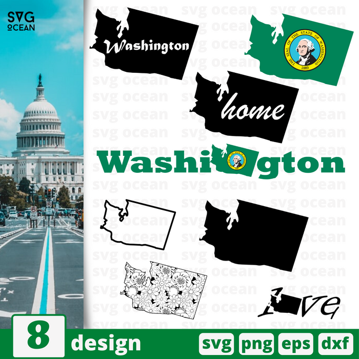 Washington SVG vector bundle - Svg Ocean