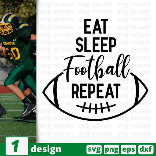 Eat Sleep Football Repeat SVG vector bundle - Svg Ocean