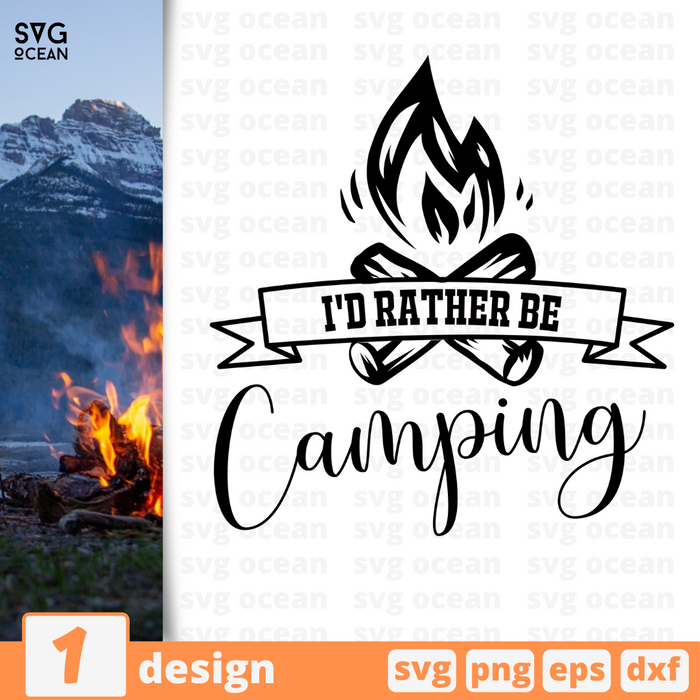 I'd rather be camping SVG vector bundle - Svg Ocean