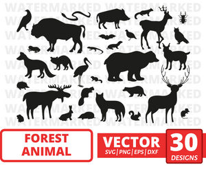 Forest animal SVG vector bundle (svg, dxf, png, eps). Colored + Silhouette + Outline.