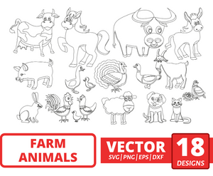 Farm animals SVG vector bundle (svg, dxf, png, eps). Colored + Silhouette + Outline.
