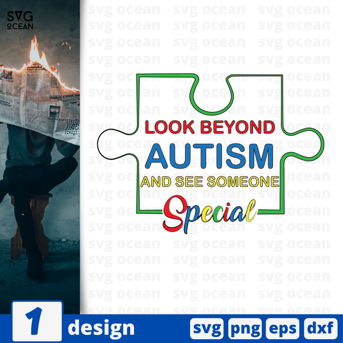Look beyond autism and see someone special vector bundle (svg, dxf, png, eps).