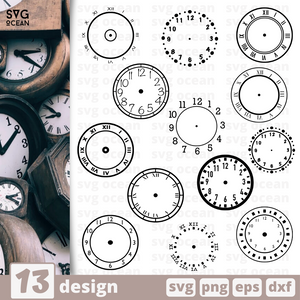 Clock silhouette SVG vector bundle - Svg Ocean