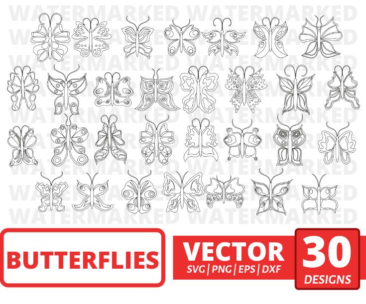 Butterflies SVG vector bundle. Colored + Silhouette + Outline.