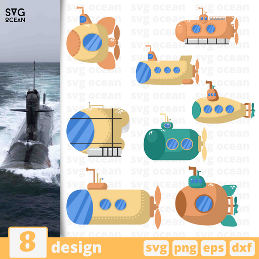 Submarine SVG vector bundle - Svg Ocean