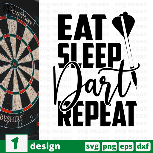 Eat Sleep Dart Repeat SVG vector bundle - Svg Ocean