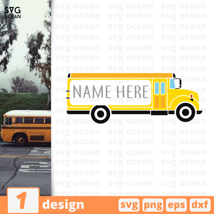 School bus monogram SVG vector bundle - Svg Ocean
