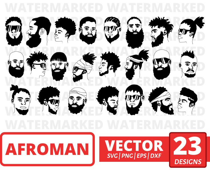 Afro man SVG vector bundle - Svg Ocean