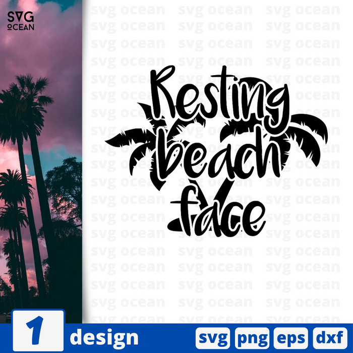 Resting beach face SVG vector bundle - Svg Ocean