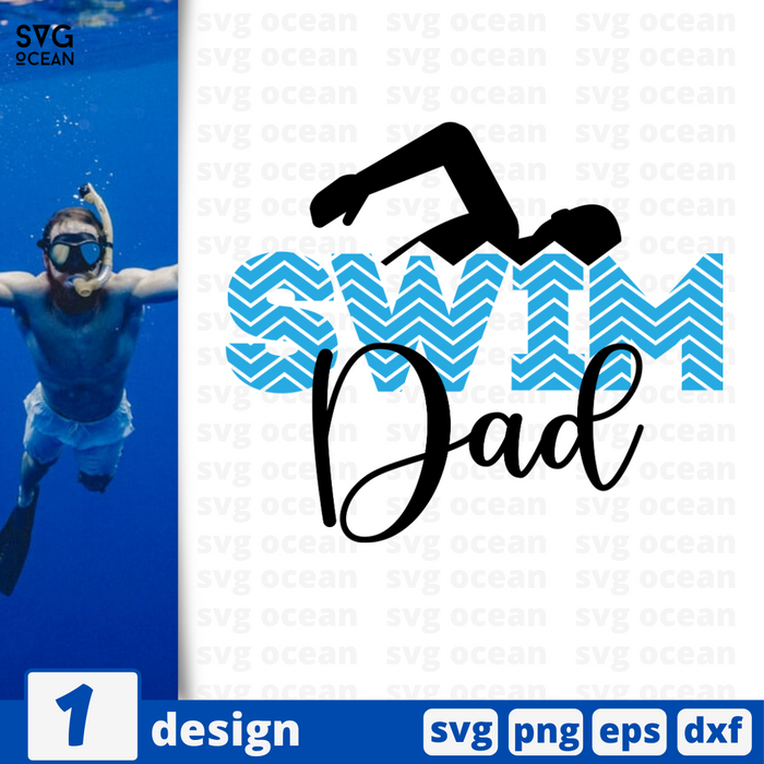 Swim dad SVG vector bundle - Svg Ocean