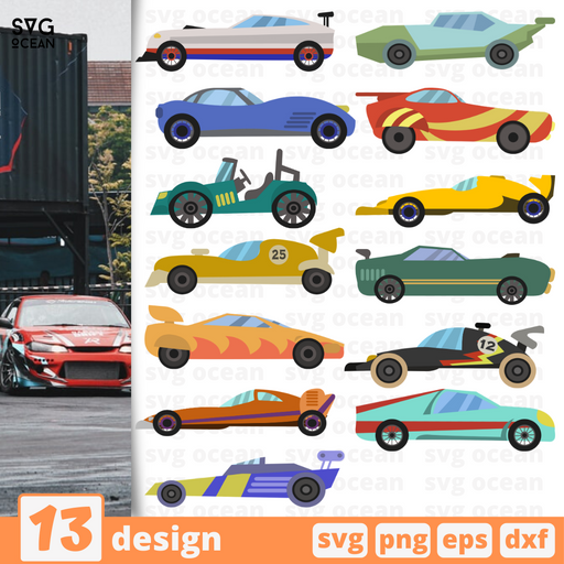 Racing cars SVG vector bundle - Svg Ocean