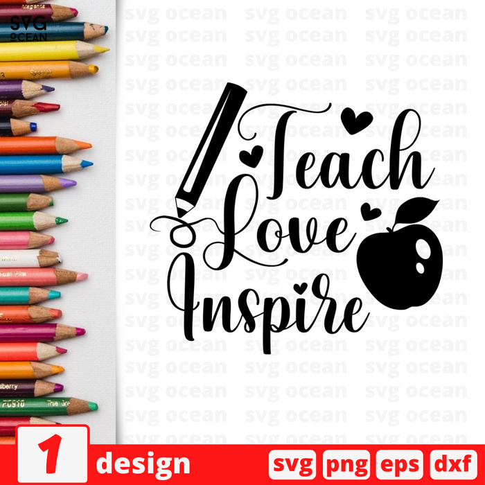 Teach Love Inspire SVG vector bundle - Svg Ocean