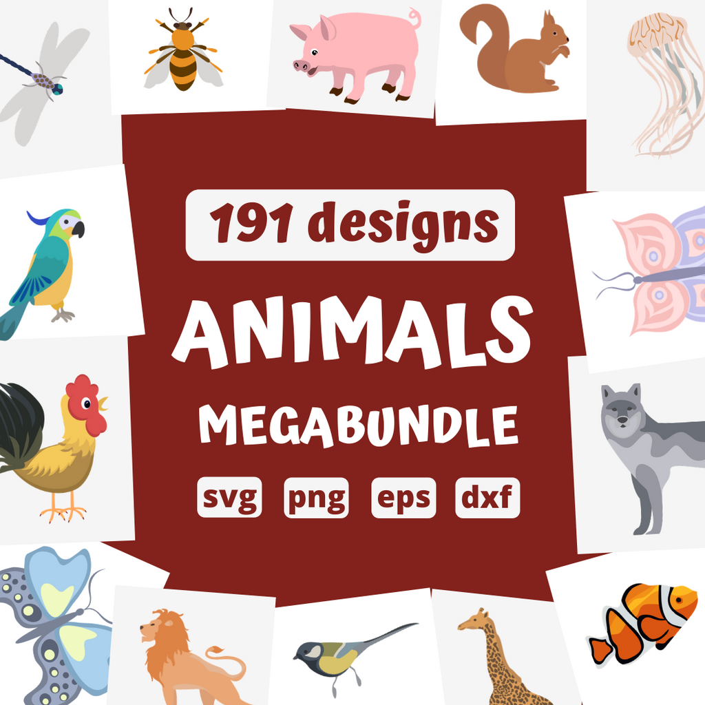 Animals megabundle SVG bundle (svg, dxf, png, eps)