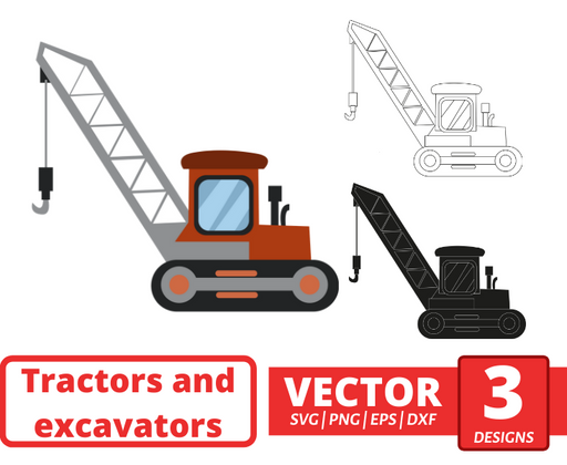 Crane bulldozer SVG vector bundle - Svg Ocean