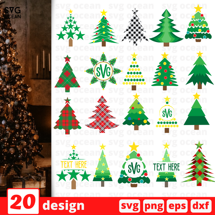 Christmas tree SVG vector bundle - Svg Ocean