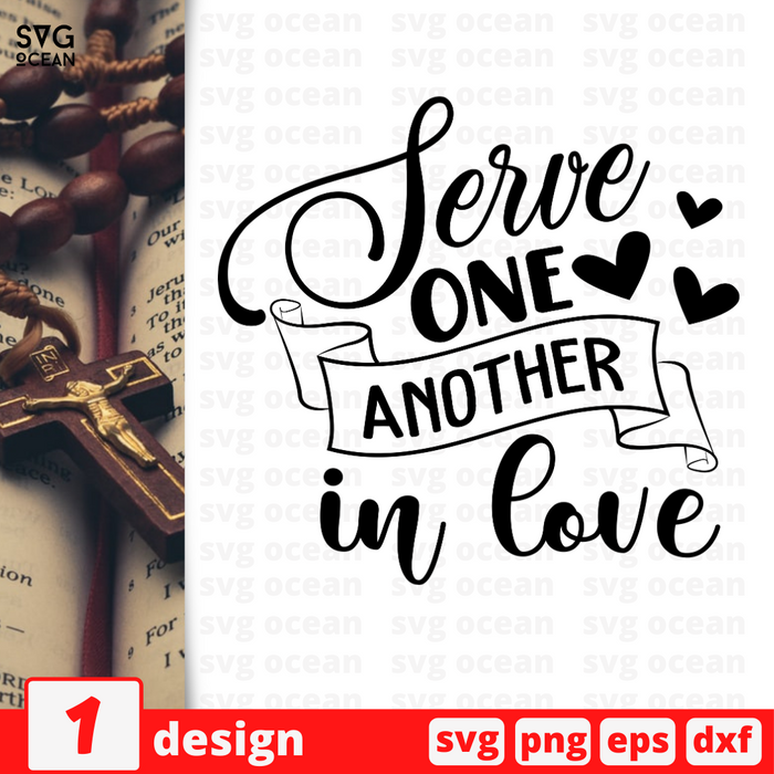 Serve one another in love vector bundle (svg, dxf, png, eps).