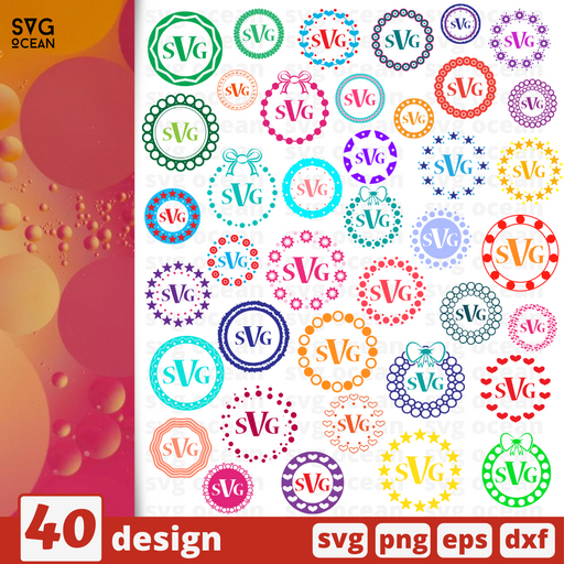 Monogram frames circles SVG vector bundle - Svg Ocean