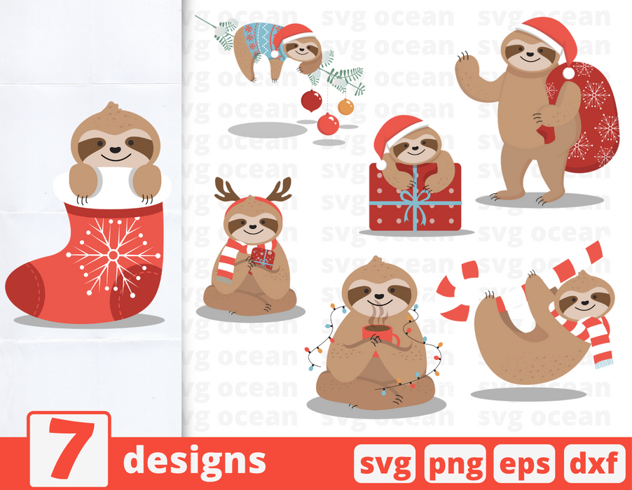 Christmas sloth SVG vector bundle - Svg Ocean
