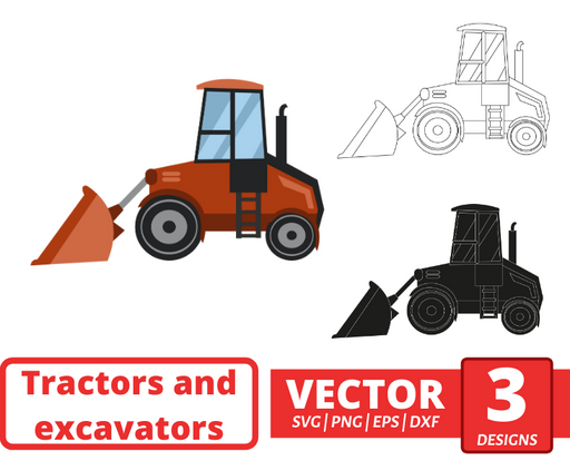 Wheeled bulldozer SVG vector bundle - Svg Ocean