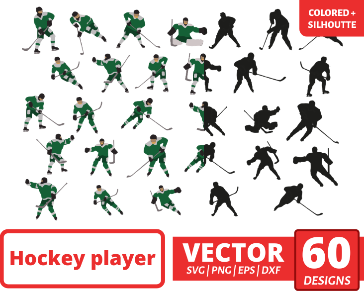 Hockey players colorful + silhouette SVG - Svg Ocean