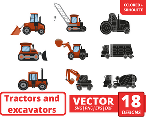 Tractors and excavators SVG vector bundle (svg, dxf, png, eps). Colored + Silhouette + Outline.