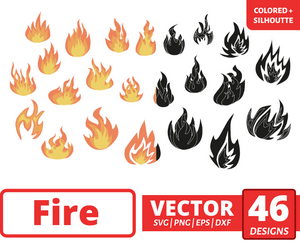 Fire SVG vector bundle (svg, dxf, png, eps). Colored + Silhouette + Outline.