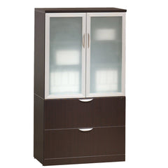 Storage file cabinet with glass doors