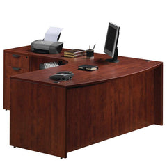 L Desk with Radial Bow Front